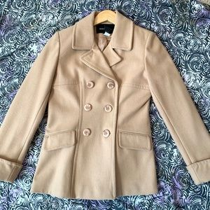 Tan Double Breasted Wool Pea Coat - Size M